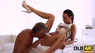 Old4k. old daddy penetrates smokinghot secretary in