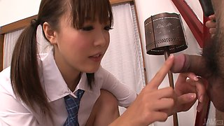 Lusty Asian college slut Momoka Rin sucks juicy cock of her camera fellow