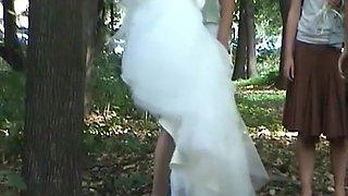 Outdoor hidden pee bride and friends