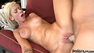 Busty blond head bitch got hardcore drilled by her old dude