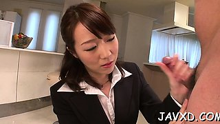 Marvelous oriental darling Hitomi Oki gets drilled hard