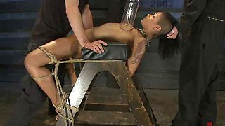 Slim Brunette Is Held Captive And Forced To Serve A Cock