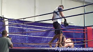 Lesbian babe licks pussy after wrestling