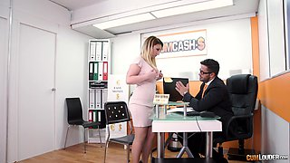 Blonde bimbo Lucia Fernandez fucks her boss and swallows his cum