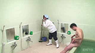 Cleaning lady from the Far East agrees to take it from the behind