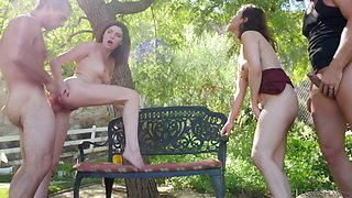 Voluptuous chick Penelope Reed takes part in outdoor group sex orgy