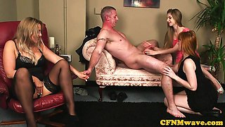 Hot Euro CFNM milf shares her sub husband