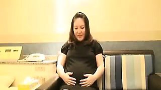 Pregnant Asian gal gets undressed to give him a sloppy blow