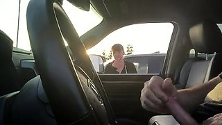 Shameless fucker almost gets caught jerking off in the car