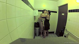 Crazy lesbian Dana Vespoli gives splendid tongue job to girlfriend in the public toilet
