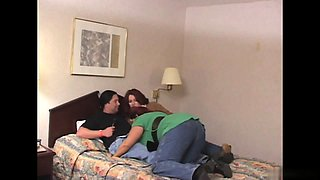 Three curvy bitches ride horny stud in bed