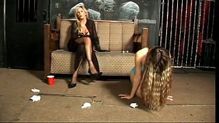 Flat chested slave gets punished good by her big boobed mistress