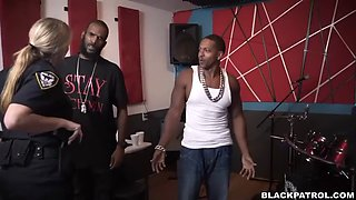 bitch cops from black patrol punish rapper's big black cock with their pussies