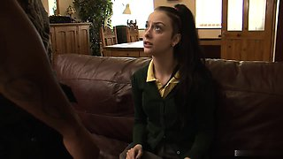 This schoolgirl has been very naughty with her stepdad,...