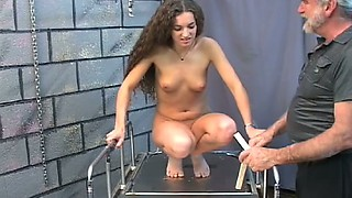 Long haired babe Nicole is punished by old pervert