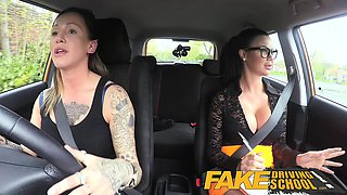 Fake Driving School Sexy strap on fun for new big tits