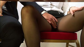Black haired office slut gives steamy blowjob to young boss
