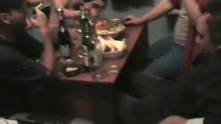 Marina and Yana strip in front of a guy and suck bananas