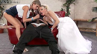 Bride And Her Friend Share a Big Black Dick