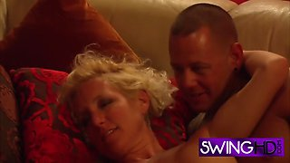 Mature cock gobblers sucking dick in a foursome