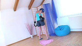 Sporty brunette teen Hika poses on cam showing off her big boobs and svelte sexy body