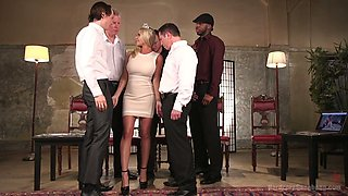 Bombshell Rachele Richey takes part in crazy interracial gangbang