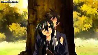 Teen anime brunette getting laid