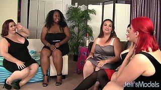 Cute BBW babes having a hardcore lesbian sex party