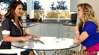 Busty les licks out maid
