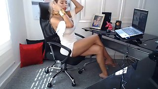 Secretary has amazing hair, body, legs, feet &amp sandals