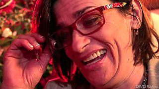 Slutty chick in glasses Michele Marks is fucked hard by one kinky dude