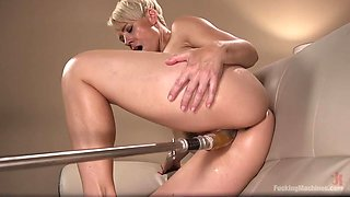 machine fucks this blonde milf hard