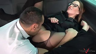Hot secretary convinced to fuck in van