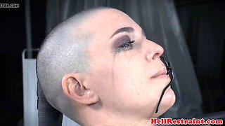 tattooed bald sub with pierced cunt