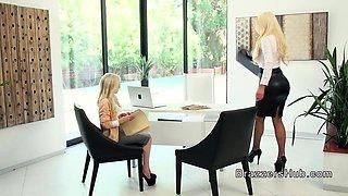 Huge ass and tits lesbian boss eats secretary