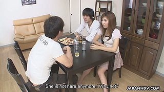 Kinky and vivid Hitomi Okubo gets her bushy pussy fucked in cowgirl pose