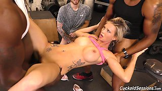 Astrid Star enjoys a couple of black dongs in front of a horny guy