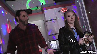 Tempting chick Hannah Hays is visiting glory hole room for the first time