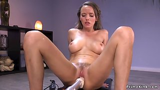Solo squirter laying and fucking machine