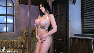 Brunette babe Aletta Ocean masturbates in the barn