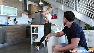Stepsister in ripped yoga pants Sloan Harper gets her pussy polished and fucked
