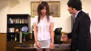 Crazy Japanese whore Haruki Sato in Incredible Office, Stockings/Pansuto JAV video