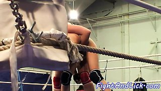 Lesbian domina wrestling with pretty babe
