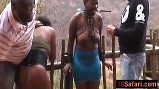 african teens enjoy getting abused outdoors