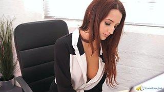 Sexy 19 yo secretary Layla and her fucking hot cleavage