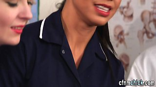 Uniformed nurse sucks