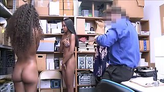 Two Hot Black Teen Step Sisters Caught Shoplifting Fucked Cop