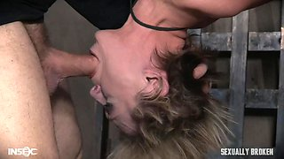 naughty blonde sex slave is face fucked while upside down