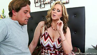 Eager blond mommy Julia Ann gives some nice blowjob to Tyler Nixon