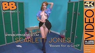 British teen with yummy tits Scarlett Jones gets naked in the locker room